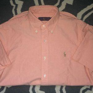 Men's Short peach short sleeve polo